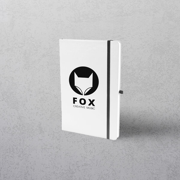 A5 White Notebook with Strap