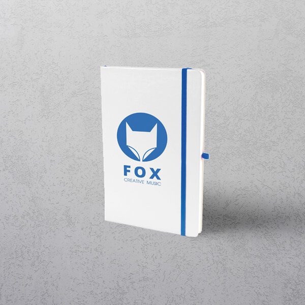 A5 White/Blue Notebook with Strap