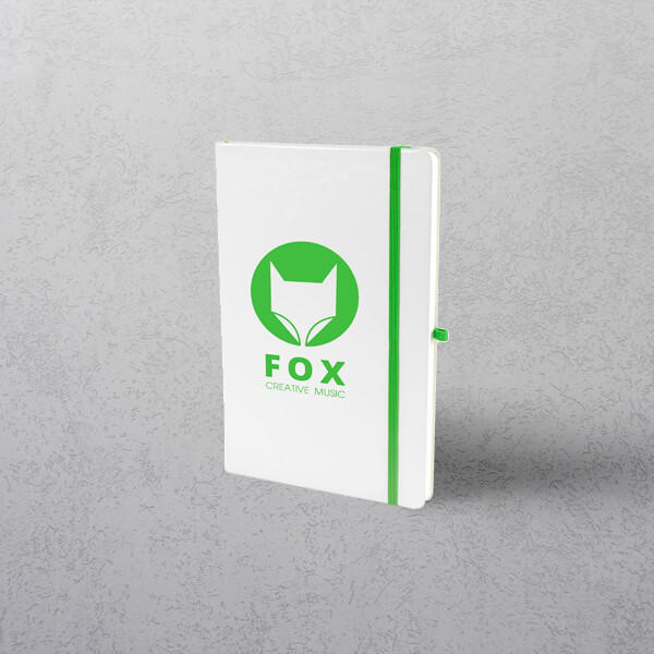 A5 White/Green Notebook with Strap
