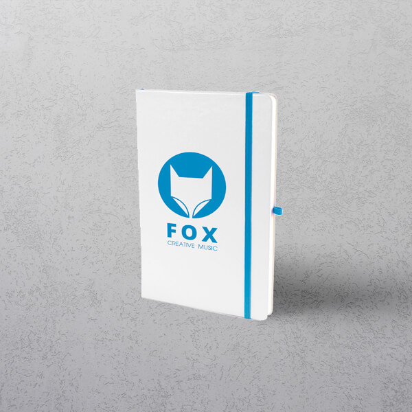 A5 White/Royal Notebook with Strap