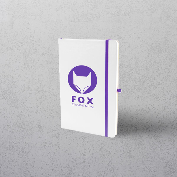 A5 White/Purple Notebook with Strap