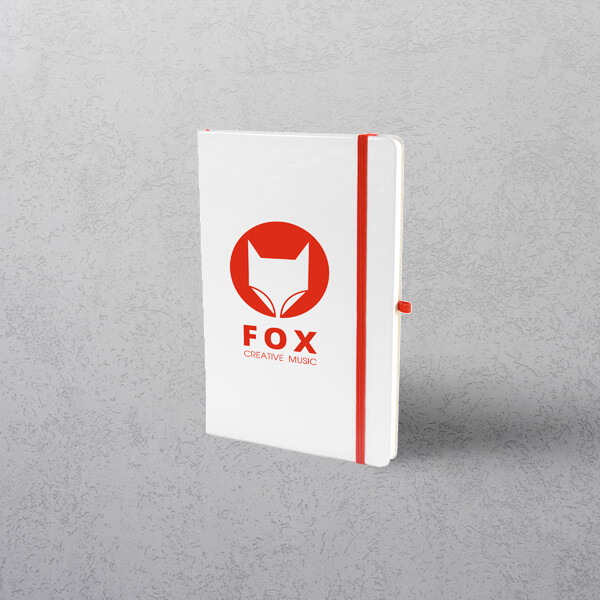 A5 White/Red Notebook with Strap