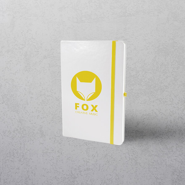 A5 White/Yellow Notebook with Strap